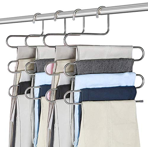 Perchas para Pantalones, Percha Multifuncional, Tipo S Perchas Pantalones Multiusos Percha, Ahorra Espacio, Perchas de Metal de 5 Niveles, Organizador de Armario Antideslizante 4 pcs