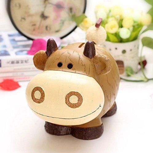 Abenily Münzen-Spardose-Geschenkbox Kreative Kinder Geschenke Harz Zodiac Sparschwein Super Schöne Tier Sparschwein (Kuh)