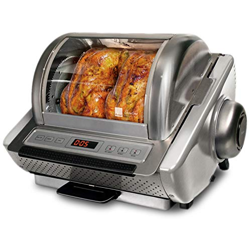 Ronco Showtime EZ-Store Large Capacity Rotisserie & BBQ Oven, Digital Controls, Compact Storage, Perfect Preset Rotation Speed, Self-Basting, Auto Shutoff, Includes Multipurpose Basket