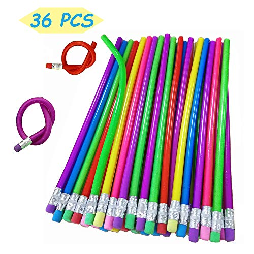 36PCS Flexible Bendy Pencils,18cm Soft Cool Fun Pencil with Erasers for Children or Students as Great Party Favor,Reward and Novelty Gifts