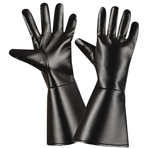 Amakando Handschuhe Western Fingerhandschuhe Leder Optik Cowboy Herrenhandschuhe Lederhandschuhe schwarz Karneval Kostüm Zubehör Gothic Accessoires Zorro Bandit Kunstlederhandschuhe