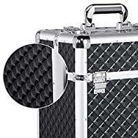 Yaheetech Trolley Valigia Make Up da Trucco Professionale Porta Trucchi Smalti Beauty Case da Viaggio per Estetista Parrucchiere Nera con 4 Ruote 34,3 x 24,2 x 55,5 cm #5