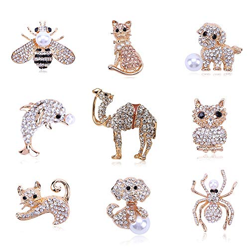 SHAOWU Classic Crystal Camel Cat Dog Bee Animal Rhinestone Brooch Pins Antique Gold Metal Scarf Pins Jewelry Gift Party Clothing Decors Dolphin03