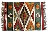 iinfinize Alfombra india de yute y Kilim de yute, hecha a mano, de 2 x 3 pies, multicolor
