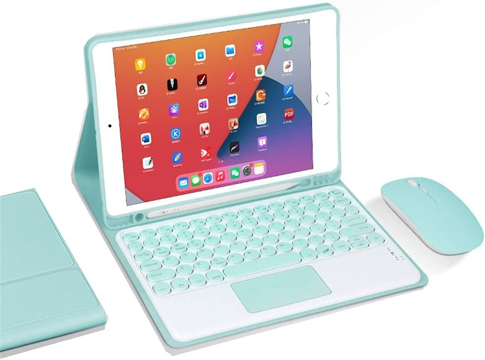 Keyboard case with touchpad for iPad Air Air2 iPad5 iPad6 9.7 inch with Wireless Mouse Color Round keycap Detachable Bluetooth Keyboard case (iPadAir/Air2/iPad5/iPad6, Green)