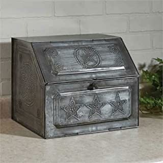 Galvanized Punched Star Metal Bread Box Vintage Replica, Silver, 11H X 13W X 11.25D