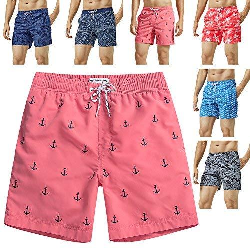 MaaMgic Mens Quick Dry Anchor Swim Trunks with Mesh Lining Swimwear Bathing Suits,Red-glm009,Medium