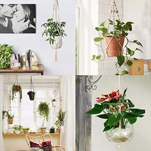 SanZHONGsd Blomma Pott Hängande Nät 3 Hand Stickning Växt Hänger Med Krok Trädgårdsförråde