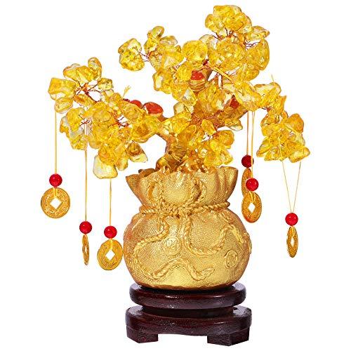 IMIKEYA Geldbaum Feng Shui Gold Glücksbaum Pfennigbaum Kristall Feng Shui Deko with Glücksmünzen und Base für Reichtum Glück Hause Deko, 19cm/7.5inch