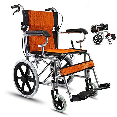 HSRG Fauteuil Roulant de Transport Pliant en Acier léger, avec accoudoirs pivotants, Repose-Pieds pivotants, pour Personnes âgées, handicapés,Orange