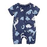Kids Tales Baby Animal Printed Short Sleeve Pajama Sleeper Zipper Romper
