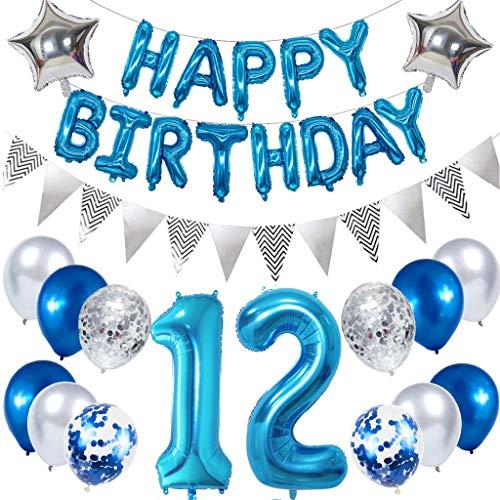 Ouceanwin 12 Ans Anniversaire Décorations Bleu, Guirlande Happy Birthday Ballons, Géants Ballons Numéro 12, Étoile Ballon Hélium Argent Ballons Confettis Fournitures de Fête Kit pour Enfant Garçon