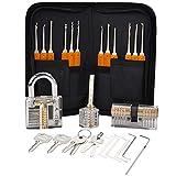 Premium Lockpicking Set Willingood 24-Teiliges Lockpicking Set mit 3 Transparenten Übungsschlössern Dietrich Set für Anfänger und Professionelle Lockpicker