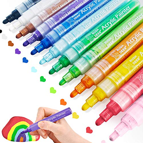 Rush Deer Acrylic Paint Pens, 12 Colors Acrylic Paint Markers for Rock Painting, Ceramic, Canvas, Wood Slices, Glass, Metal, Fabric, Mug, Easter Eggs, Card Making, DIY Art Projects Craft Supplies Paint Pens Set
