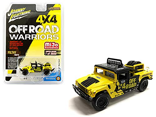 Johnny Lightning Hummer H1 Race Truck Yellow and Black with Tire Carrier Off Road Warriors Limited Edition to 3,600 Pieces Worldwide 1/64 Diecast Model Car JLCP7157