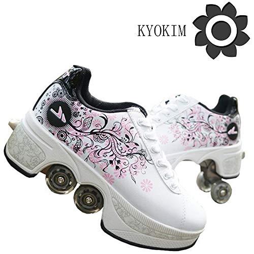 KYOKIM Pattini in Linea Regolabili,Pattini A Rotelle Bambina,Sneaker Donna Bianche,Pattini A 4 Ruote Bambina,2-in-1 Multi-Purpose Scarpe Inline Roller Shoes,White-36