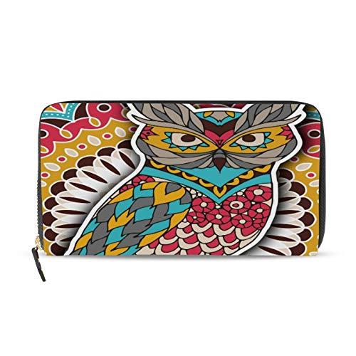 iRoad Geldbörse Leder Clutch Wallet Indian Tribal Eule Blume Kreditkartenetui Münzfach Personalisierte Brieftaschen für Frauen Mädchen
