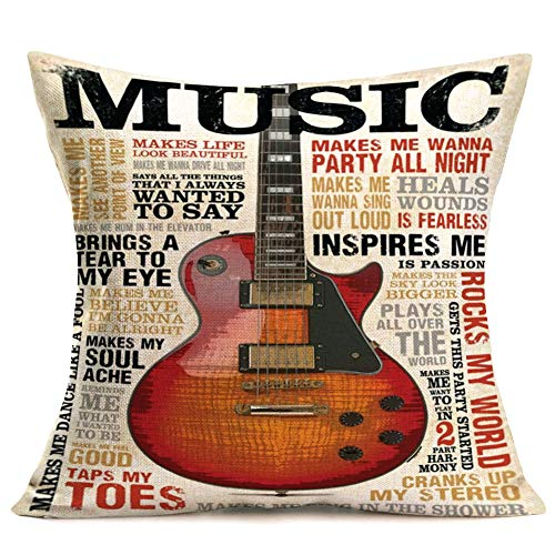 Music Pillow Covers Cotton Linen Retro Quote Word Lettering Background with Music Guitar Decorative Throw Pillow Covers Farmhouse Square Pillowcase Home Sofa Office Chuion Cover 18'x18' (Music Quote)