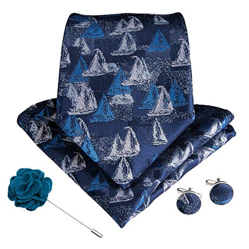 XXYHYQHJD 15 Styles Blue Teal Men's Tie Hanky Cufflinks Brooch Set Silk Men Necktie 8cm Wide Ties for Men Business Formal Wedding (Color : LDNX0080, Size : One Size)