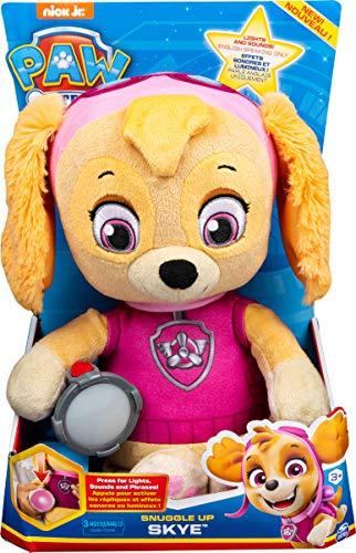 PAW Patrol Snuggle Up Skye - Peluche con antorcha y Sonidos para niños de 3 años y más