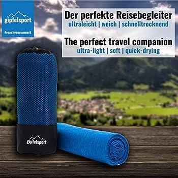 gipfelsport Serviette en Microfibre   Bleu   XS(50x30cm) sans Poche