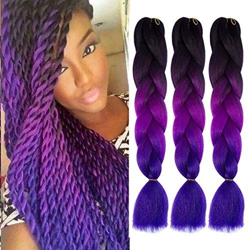 Jumbo Braids Ombre 3Tone Synthétique Kanekalon Extensions de Cheveux pour DIY Crochet Box Tressage 100g/pc Noir-Violet-Bleu 3pcs/Lot 61cm(24 inch)