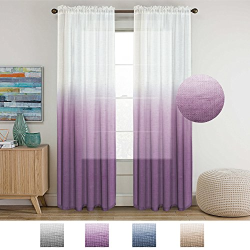 Turquoize Semi Sheer Plum Curtains for Bedroom Casual Weave Textured Privacy Linen Blended Window Curtains Drapes for Living Room 84 Inches Long Window Treatments 2 Panels, Two Tone Plum Ombre