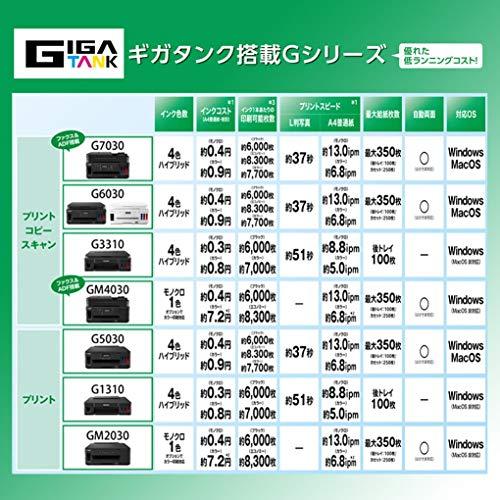 CanonプリンターA4インクジェット複合機特大容量ギガタンク搭載G6030ブラック
