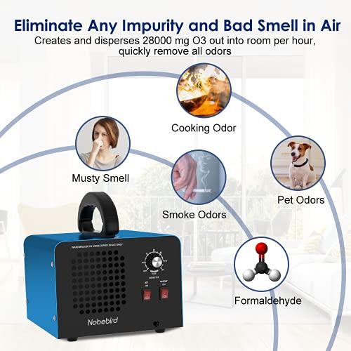 Generador de ozono Purificador de aire, 28000 mg / h Desodorizador de ozono con modos de purificación de aire / agua, Purifica hasta 300㎡, Elimina el humo / el olor de mascotas / contaminante