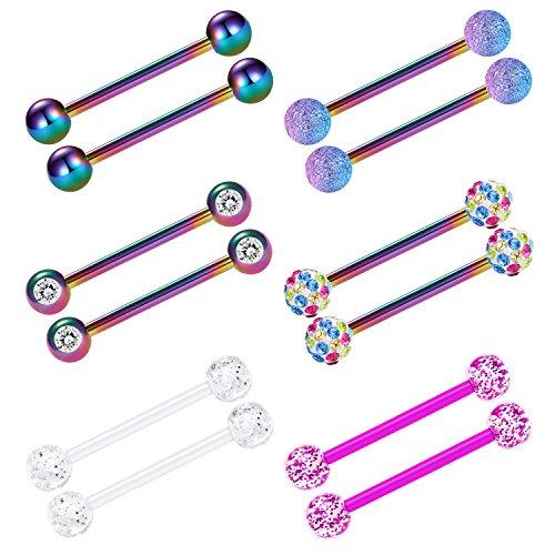 vcmart Nipple Rings Tongue Ring Surgical Steel Nipplerings Piercing Women Rainbow Barbells 14G 6 Pairs 3/4'
