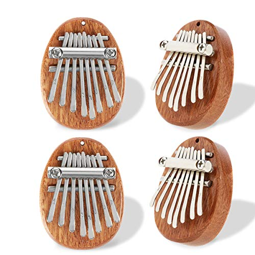 4 Stück 8 Schlüssel Mini Kalimba für Kinder, Dyna-Living Kalimba Daumenklavier Marimba, Hochwertiges Sapele Wood Marimbaphone Musikinstrument für Kinder Erwachsene Anfänger
