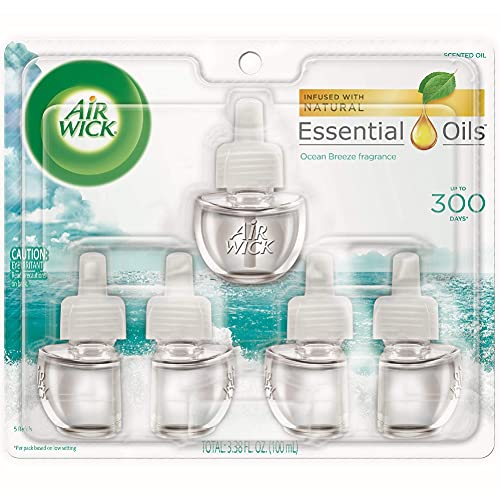 Air Wick plug in Scented Oil 5 Refills, Ocean Breeze, (5x0.67oz), New look, Packaging May Vary, Essential Oils, Air Freshener