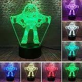 Lámpara de ilusión 3D Buzz Lightyear Luz de noche al lado de la...