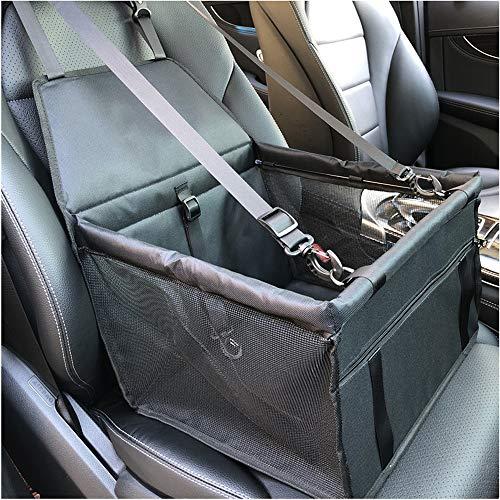 Jinyi, seggiolino per auto per animali domestici, con asta di supporto, cestino traspirante per auto, borsa da viaggio, pieghevole, per cani e gatti (nero)