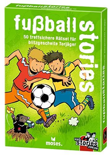 black stories Junior - fußball stories | 50 treffsichere Rätsel für blitzgescheite Torjäger | Das Rätsel Kartenspiel für Kinder ab 8 Jahren