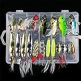 21Pcs Kits de señuelos para Pesca, LAEMALLS Cebos Artificiales de Pesca Cebo Duros/Suaves, Ojos 3D, Accesorios Cebos Articulos de Pesca para la Pesca, Trucha, Bagre, Bass, Salmón y Lucio#2