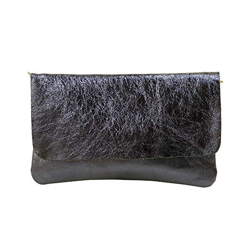 SH Leder Echtleder Umhängetasche Clutch kleine Tasche Abendtasche 24,50x15cm Ely G149 (Anthrazit Metallic)