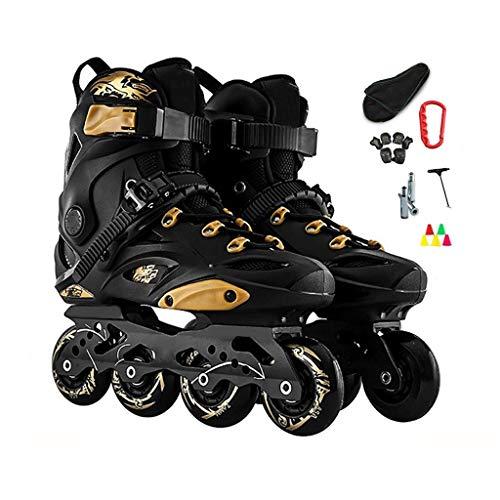 CYLQ Outdoor Adult Black Professional Roller Inline Skates Komfortabel Freestyle Racing Skates Für Frauen Und Jugendliche Beruf Anfänger Inline-Rollschuhe, Schwarz