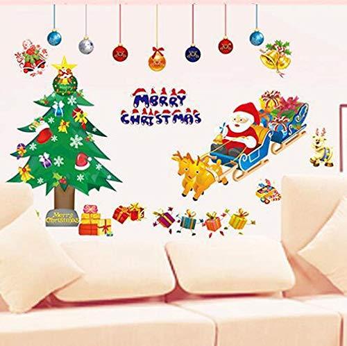 Pegatinas de pared autoadhesivas de PVC para la decoración de la puerta del árbol del cómic, copo de nieve del copo de nieve del nuevo año de Navidad