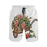 Mielpdaz - Costume da bagno da uomo con carriola e rose dorate, Colore unico, XL
