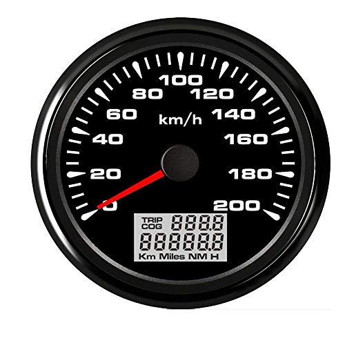 Tachometer Tachometer 85mm wasserdichte Digital GPS Tachomessgerät 120 km/h 200 km/h-Entfernungsmesser for Auto-Marine-LKW MDYHJDHYQ (Color : Black 200kmh, Size : Kostenlos)