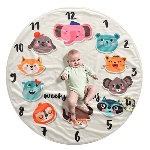 FZ FUTURE Nouveau née Couverture de Props de Photographie, Baby Props imprimé Coton Mensuel Milestone Wrap Swaddle Couvertures, Cadeau de Shower de bébé(Purple Flower),C