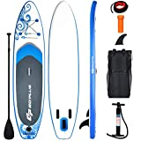 "Goplus Inflatable Stand Up Paddle Board, 6.5"" Thick SUP with Carry Bag, Adjustable Paddle, Bottom Fin, Hand Pump, Non-Slip Deck, Leash, Repair Kit (Blue, 10.6 Ft)"