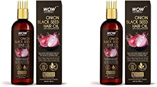 WOW Skin Science Onion Black Seed Hair Oil - WITH COMB APPLICATOR - Controls Hair Fall & WOW Skin Science Onion Black Seed...