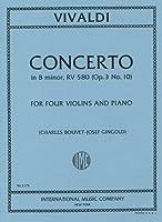 ヴィヴァルディ: 4本のバイオリンのための協奏曲 ロ短調 Op.3/10/インターナショナル・ミュージック社/ピアノ伴奏付4本のバイオリン楽譜