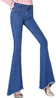Womens Flare Modest Jeans Mid Waist Frayed Edge Denim Trousers Pants