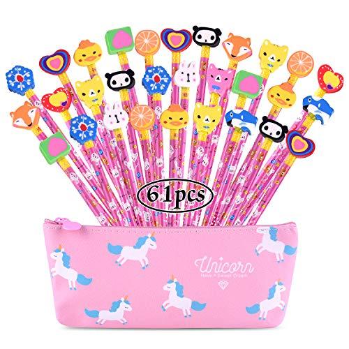 FEPITO Kids Party Bag Filler Set, Houten Grafiet Potloden Set met Cartoon Rubber Gummetjes en 1 Stks Eenhoorn Potlood Case School Leuke Stationaire Apparatuur Party Favor Supplies