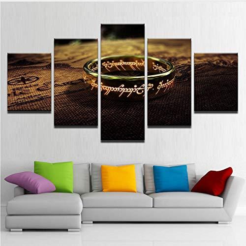 Toile Photos Salon Mur oeuvre 5 Pièces Seigneur Des Anneaux Peintures HD Prints Un Anneau Spécial Affiches Décor À La Maison