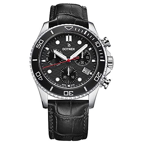 DOTNEK Drift-Master - Reloj cronógrafo de acero inoxidable con esfera negra y correa de piel negra