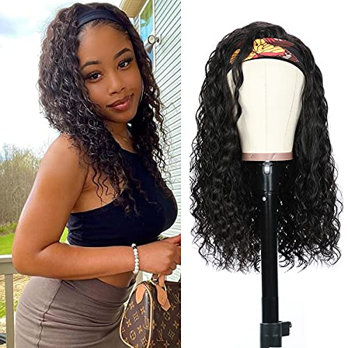Headband Wig for Black Women Water Wave Human Hair None Lace Front Wigs Brazilian Virgin Remy Hair Wet and Wavy Ice Silk Headband Human Hair Wigs Glueless Machine Made Wigs 150% Density Black 18 Inch